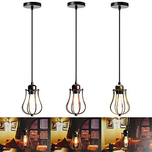 Hitommy E27 Vintage Ceiling Edison Light Pendant Lamp Cage Lampshade Fixture Chandelier - Bronze