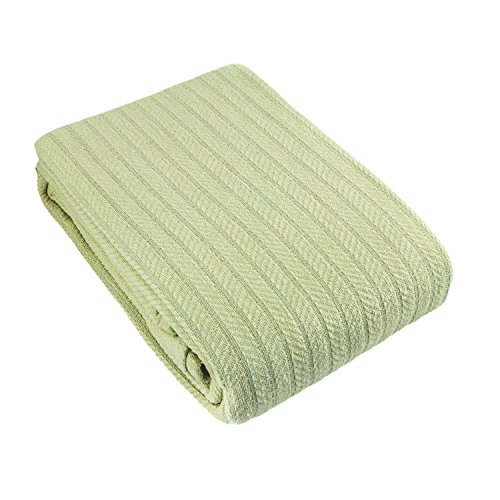 Cozy Bed Cotton Cable Woven Blanket, King, Sage