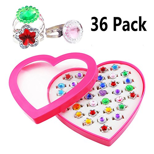 Kuqqi 36pcs Colorful Assorted Gem Star Rhinestone Adjustable Rings Display Case for Party Favors, Bridal Shower, Birthday, Adult & Children -