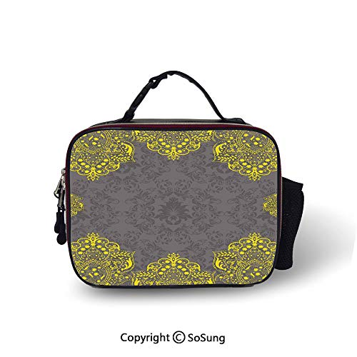 Grey and Yellow Cooler Bag Detachable Victorian Style Backdrop with Ethnic Floral Frame Image Smooth zipper for lunch bag,10.6x8.3x3.5 inch,Charcoal Grey and - Frame Yellow Tinkerbell
