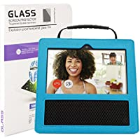 AYUQI Premium PU Leather Case for Amazon Echo Show with Free 9H Tempered Glass Screen Protector Full Size Cover Protective Carrying Case with Handle (Blue)