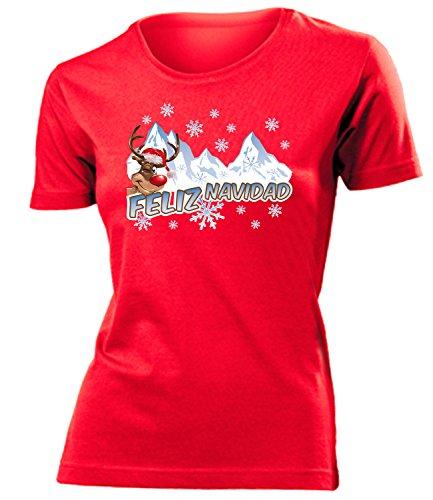 WEIHNACHTEN - FELIZ NAVIDAD - RUDOLF DAS RENTIER mujer camiseta Tamaño S to XXL varios colores Rojo