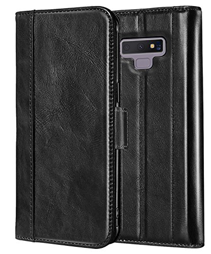 (ProCase Genuine Leather Case for Galaxy Note 9, Vintage Wallet Folding Flip Case with Kickstand and Multiple Card Slots Magnetic Closure Protective Cover for Galaxy Note 9 (Black) )