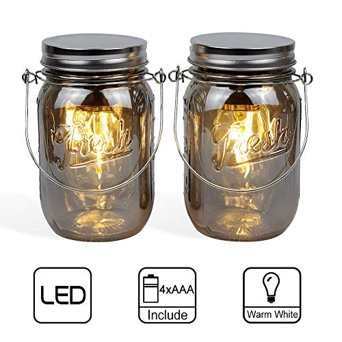 MJ PREMIER Mason Jar Lights Hanging Lights Outdoor Tabletop Laterns Hanging Lanterns Battery Operated Mason Jar Decor Table Light for Indoor Outdoor Decoration, Set of 2 ()