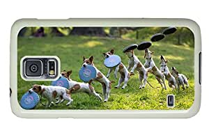 Hipster Samsung Galaxy S5 Cases unique dog frisbee catch PC White for Samsung S5 by lolosakes