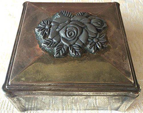 Vintage Japanese Silver-Plated Embossed Jewelry /Trinket Box (8172)