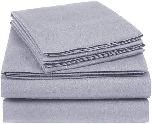 AmazonBasics Essential Cotton Blend Sheet Set -King, Dark Gr