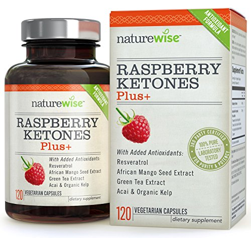 NatureWise Raspberry Ketones Plus+, Advanced Antioxidant & Green Tea Extract for Weight Loss, Appetite Suppression, Organic Kelp, Resveratrol, Vegan, Gluten Free, 120 count 51TNgy4jmLL