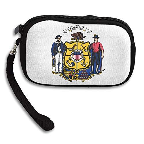 UKZAKOU Wisconsin Flag Coin Purse Durable Lightweight Wallet Change Pouch Key Holder Bag Wallets for Women