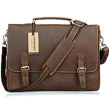 Jack&Chris Men's Genuine Leather Briefcase Laptop Bag Messenger Shoulder Bag, N8069