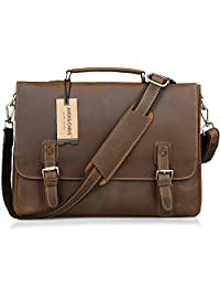 Jack&Chris Men's Genuine Leather Briefcase Laptop Bag Messenger Shoulder Bag, N8069