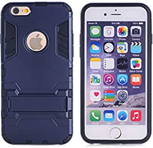 TPU Heavy Duty Slim Protective Back Case Cover Stand For Apple iPhone 6 4.7 Inch - Dark Blue