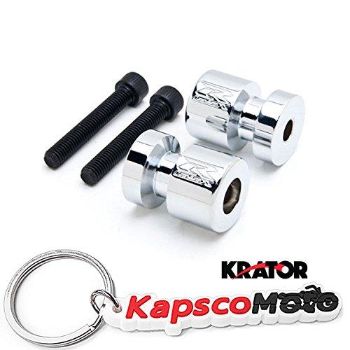 KapscoMoto Keychain Krator Chrome Engraved Swingarm Spools Sliders For SuzukiGSXR 600 750 1000 Hayabusa Chrome Swingarm Spools Sliders Motorcycle Bobbins