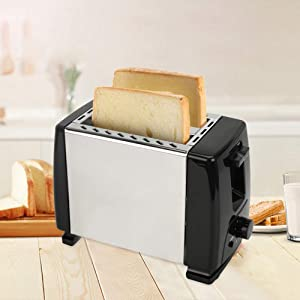 N/A 2 Slice Fully Automatic Stainless Steel Household Toaster One-Touch Shortcut Toaster With Six-Speed Temperature Adjustment 600W (Color : Black)