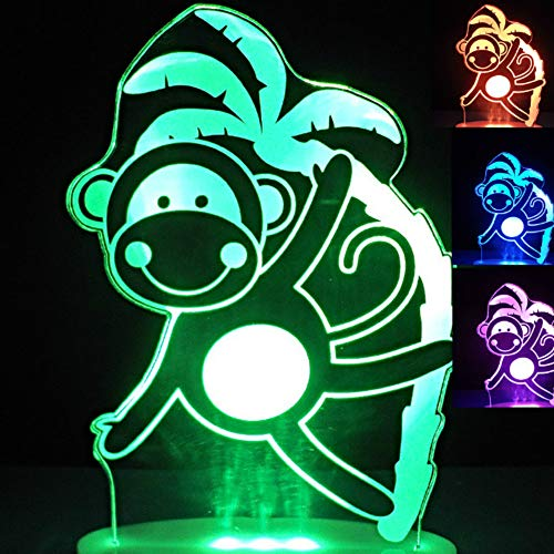 3D Monkey Night Light Animal Table Lamp Decor Table Desk Optical Illusion Lamps 7 Color Changing Lights LED Table Lamp Xmas Home Love Brithday Children Kids Decor Toy Gift