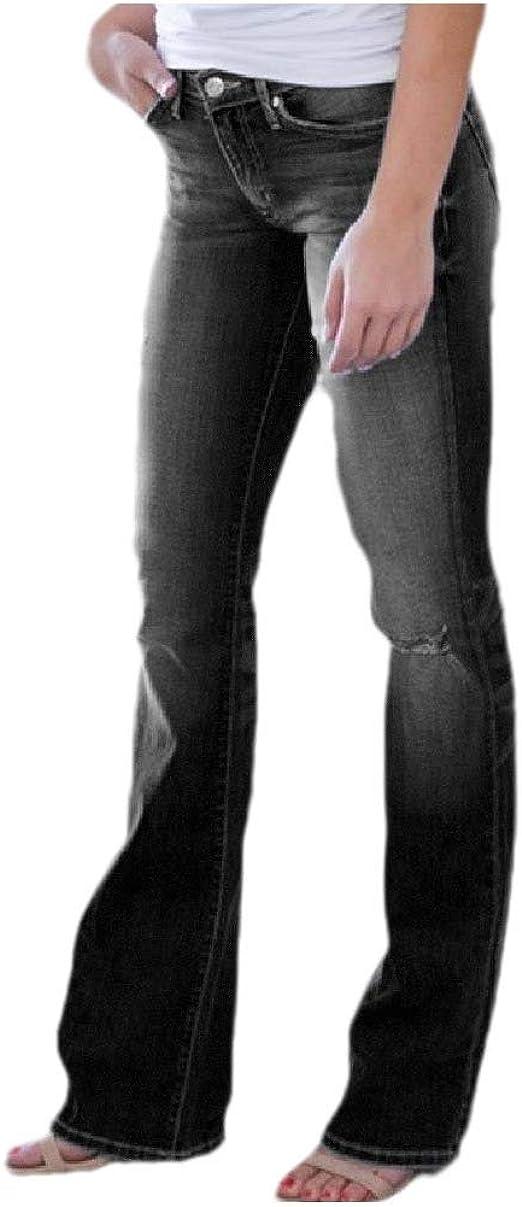 VITryst Womens Faded Mid Waist Skinny Stylish Slim Flared Ripped Distressed Jeans