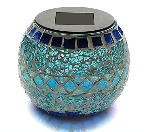 Sunnytech® Solar Mosaic Jar Color-changing Glass LED Light Bedroom Garden Yard D020 For Sale