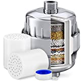 Shower Head Filter, Shower Filter 15 Stage, Chlorine Hard Water Filter Softener Purifier, with 2 Filter Cartridges, Fits Universal Handheld ShowerHead Fixed Rainfall Bath Fixture, Chrome