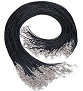 EuTengHao 120Pcs Black Waxed Necklace Cord with Lobster Clasp Bulk for Bracelet Making Necklaces ...