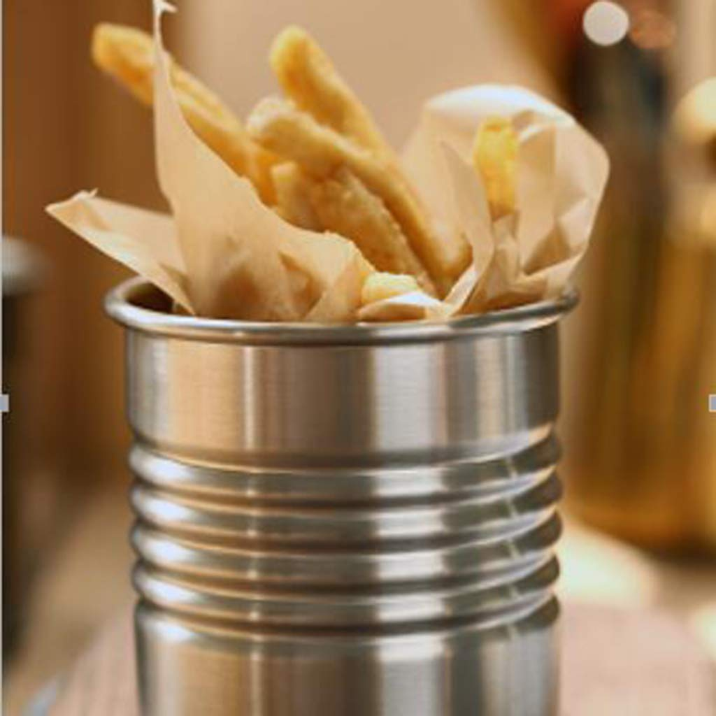 SM SunniMix S /&L 2pcs Stainless Mini Metal Bucket Ice French Fries Tin Pails,Silver Color Condiment Packet Holder