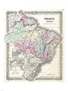 1855 Colton Map of Argentina Chile Paraguay and Poster Stampa Artistica (18 x 24)