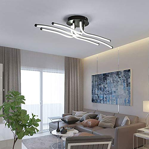 LightInTheBox LED 50W Ceiling Light Flush Mount Lights for Living Room Bedroom/Alumnium/Coffee Color Painting Lamp Lighting Fixture 4000LM (White)