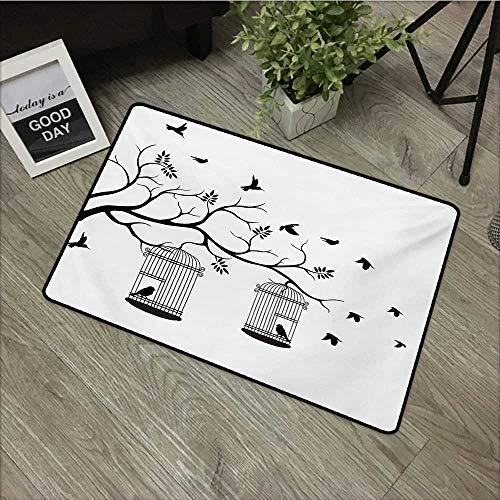 Square door mat W31 x L47 INCH Nature,Modern and Romantic Themed Design Birds Cages Branches Leaves Artwork Print,Black and White Natural dye printing to protect your baby's skin Non-slip Door Mat Car