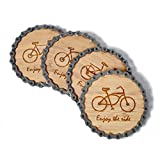Resource Revival Bike Chain & Bamboo Coasters by Eco-friendly Rustic Modern Coaster Created for the Adventurer - Set of 4