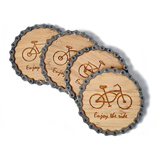 (Resource Revival Bike Chain & Bamboo Coasters by Eco-friendly Rustic Modern Coaster Created for the Adventurer - Set of)