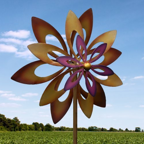 Spinning Purple Flower Garden Windmill