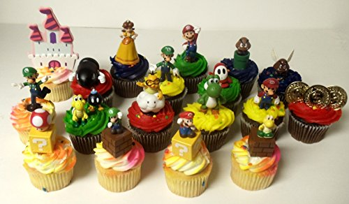 Super Mario Brothers 18 Piece Deluxe Birthday Cupcake Topper Set Featuring Shy, Mario, Goomba, Yoshi, Bomb, Luigi, Koopa Troopa, Mushroom, Princess Daisy, Lakitu Spiny and Themed Decorative Accessories - Cupcake Toppers Range from 1