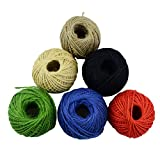 Aokbean Colorful Jute Rope Twine For Arts & Crafts Present Wrapping DIY Gift 65.5 Yards/Spool Pack of 6 (2mm) (Mixed 1)