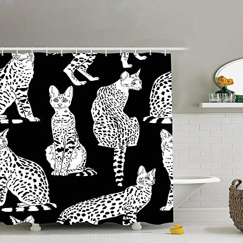 Retreat Shower Curtain Liner,18x18 Seamless Pattern Graceful Wild Cats African Animals Wildlife Adorable Animals Wildlife Backgrounds Textures Adorable Backgrounds Textures,Waterproof,Polyester 72x72