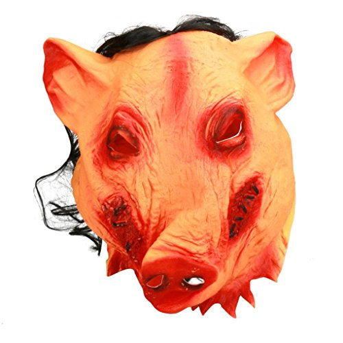 SUPPION 2017 Latex Pig Scary Mask Halloween Fancy Dress Costume Cosplay Moive Saw Gift (Yellow) - Cool Halloween Costumes For Teenage Guys
