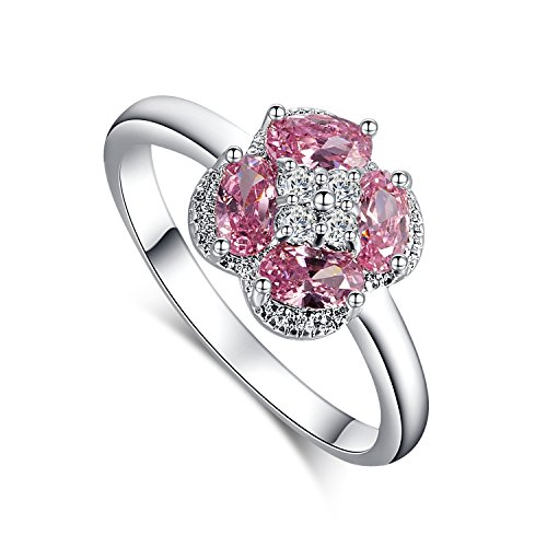 [Psiroy 925 Sterling Silver 1cttw Pink Topaz Cluster Flower Shape Filled Ring] (Princess Daisy Costumes Pattern)