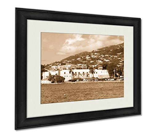 Ashley Framed Prints The Historic 17th Century Fort Christian In Charlotte Amalie Town On St Thomas, Wall Art Home Decoration, Sepia, 26x30 (frame size), AG6348022 by Ashley Framed Prints