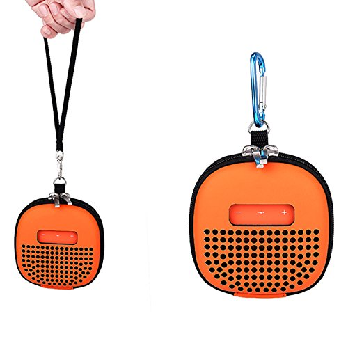 Portable Carrying Case for Bose SoundLink Micro Speaker, MENEEA Bluetooth Speaker Protective Cover with Holding Strap and Carabiner (Orange)