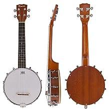 Kmise 4 String Banjo Ukulele Uke Banjo lele Concert 23 Inch Size Sapele Wood (Banjo-MI0833)