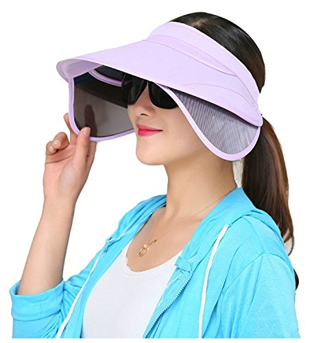 FADA New Chic Pure Color Wide Brim Sunhat Hat with Retractable Visor Cap for Traveling, Cycling, Fishing Outdoor Activities