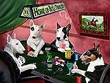 Home of Bull Terriers 4 Dogs Playing Poker Art Portrait Print Woven Throw Sherpa Plush Fleece Blanket (50x60 Plush)