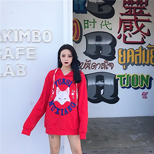 Red Loose Female Wind Jacket Sweater Xuanku Lovely Cap Harajuku 8q5wT