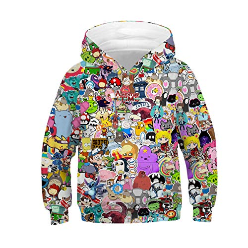 NEWCOSPLAY Unisex Kids Hooded Realistic 3D Galaxy Digital Print Sweatshirt Baseball Jersey for Boys Girls (11-12 Years, Cartoon Character)