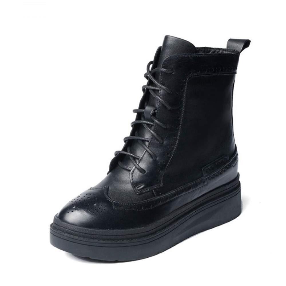 PINGXIANNV Plattform Schuhe Frauen Pu Leder Stiefeletten Für Damen Winter Stiefel Damen