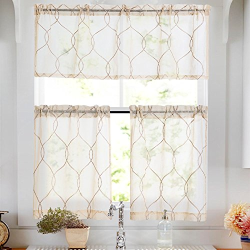 Vangao Tier Curtains Beige Embroidered Set with Valance Moroccan Trellis Pattern for Kitchen Bathroom,36 inches,Beige,Set Total 3 Pcs