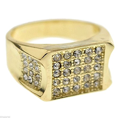 Dancing Stone Iced-Out Micropave Ring Yellow Golden Tone Finish Mens Hip Hop Pinky Band Bling (Mens Golden Iced Out Rings)