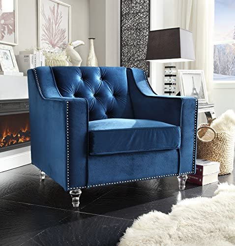 Iconic Home Dylan Modern Tufted Navy Blue Velvet Club Chair