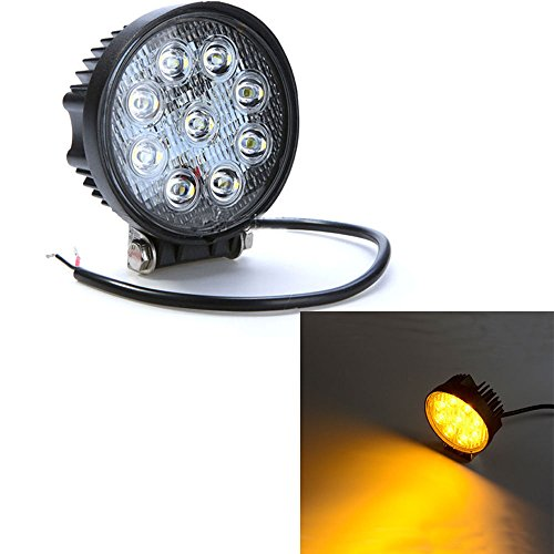 Amber Led Fog Lights - IOV LIGHT 4 Inch 27W Amber Led Fog Light Spot Beam IP67 Water proof Round Led Work Light for Truck Offroad ATV Jeep SUV Amber Fog Driving Lamp