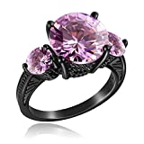 YAZILIND Black Gold Plated Exquisite Cut Sparking Purple Cubic Zirconia Anniversary Ring for Women