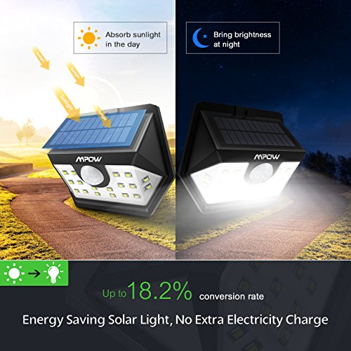 Mpow Solar Lights Outdoor, Bright 20 LED Motion Activated Lights with Wide Angle Lighting, IP65 Waterproof Wireless Security Lights for Garage Front Door Garden Pathway - 2 Pack (Auto On/Off) by Mpow (Image #7)