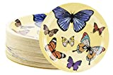 Disposable Plates - 80-Count Paper Plates, Butterfly Party Supplies for Appetizer, Lunch, Dinner, and Dessert, Kids Birthdays, 9 x 9 inches